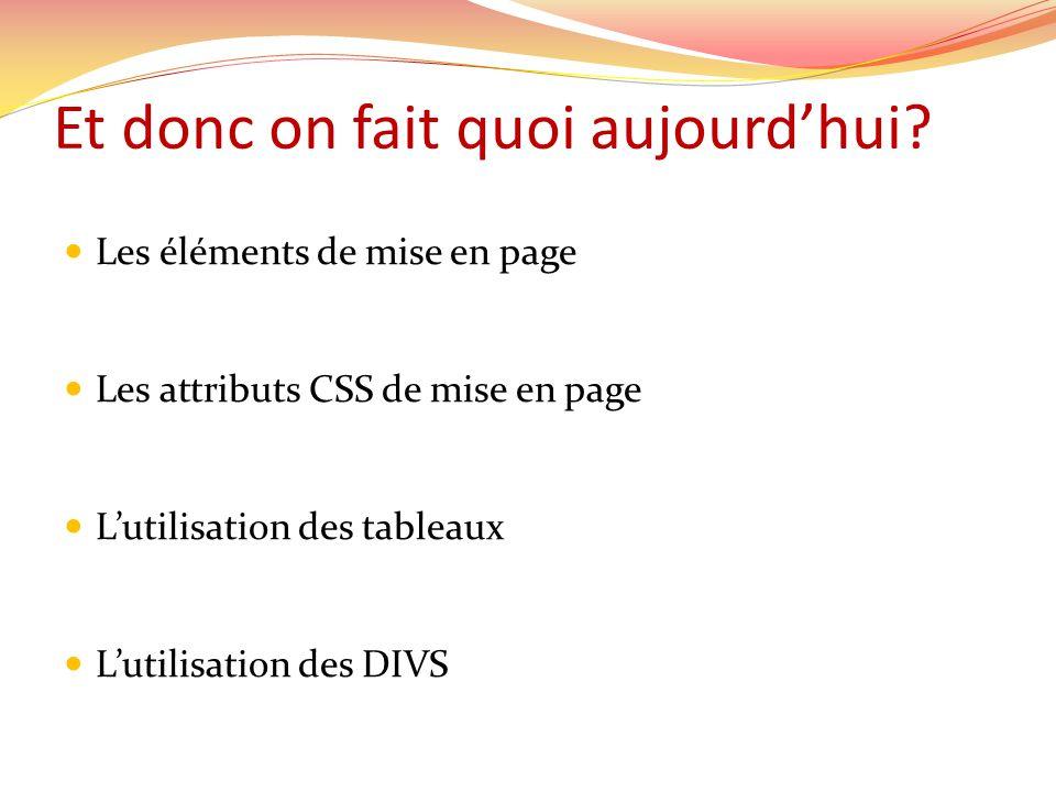 Et donc on fait quoi aujourdhui? Les éléments de mise en page Les attributs CSS de mise en page Lutilisation des tableaux Lutilisation des DIVS