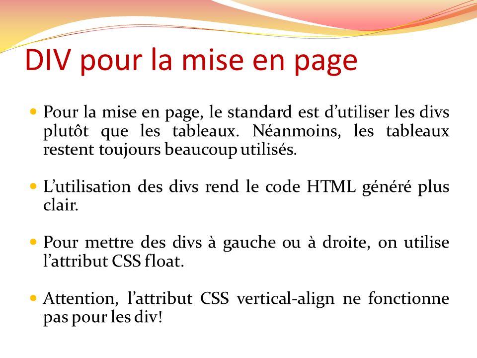 DIV pour la mise en page Pour la mise en page, le standard est dutiliser les divs plutôt que les tableaux. Néanmoins, les tableaux restent toujours be