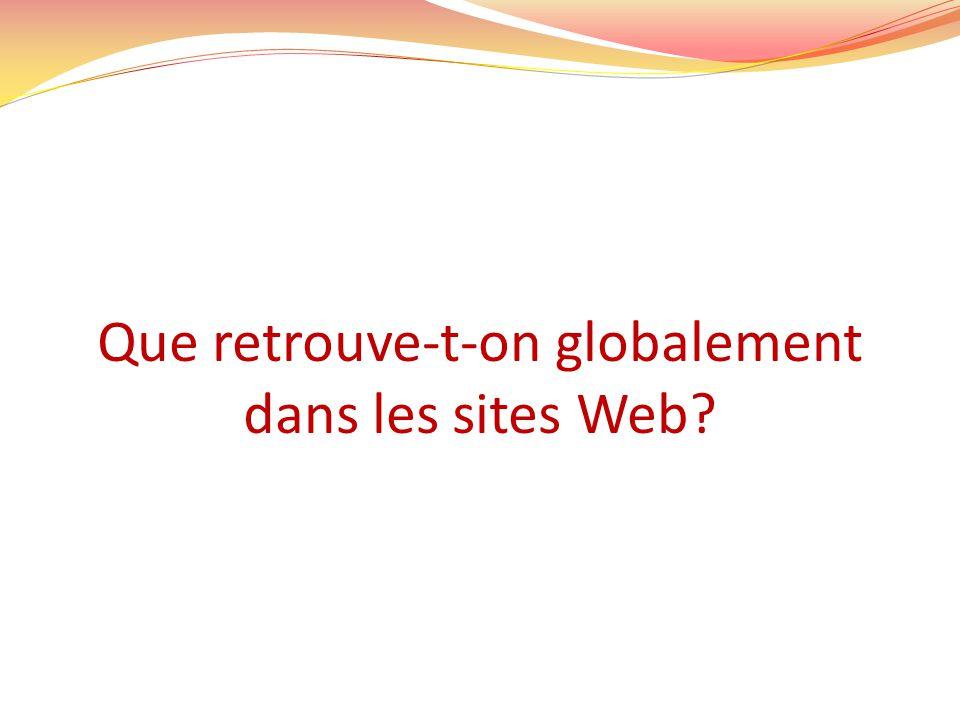 Que retrouve-t-on globalement dans les sites Web