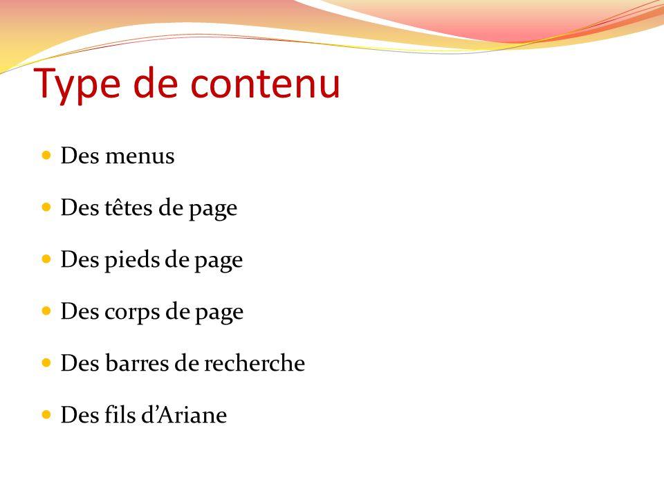 Type de contenu Des menus Des têtes de page Des pieds de page Des corps de page Des barres de recherche Des fils dAriane