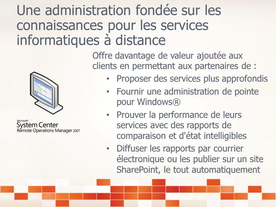 Administration à distance par un partenaire Microsoft Certified Côté client Transition entre le dépannage interne vers ladministration proactive externalisée Libérer les administrateurs internes des tâches permanentes de supervision ; disponibilité pour leur permettre de se concentrer sur linnovation et le développement +