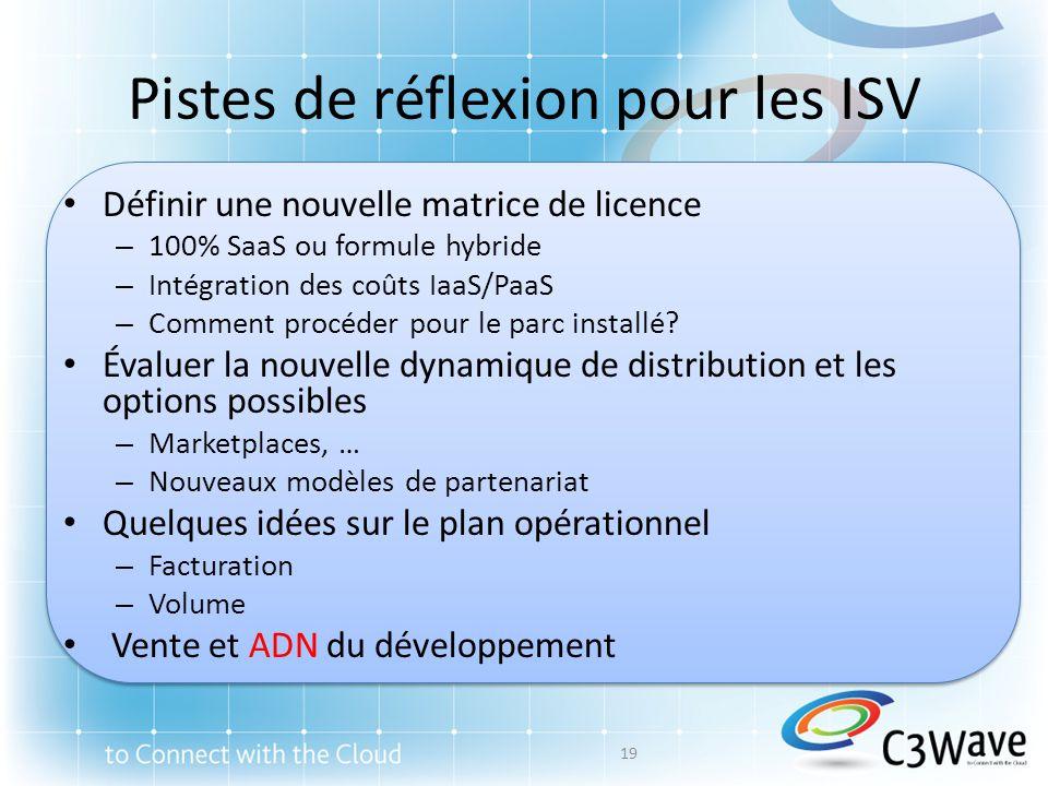 Pistes de réflexion pour les ISV Définir une nouvelle matrice de licence – 100% SaaS ou formule hybride – Intégration des coûts IaaS/PaaS – Comment procéder pour le parc installé.