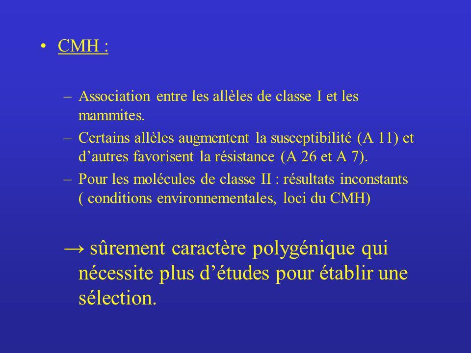 CMH : –Association entre les allèles de classe I et les mammites. –Certains allèles augmentent la susceptibilité (A 11) et dautres favorisent la résis