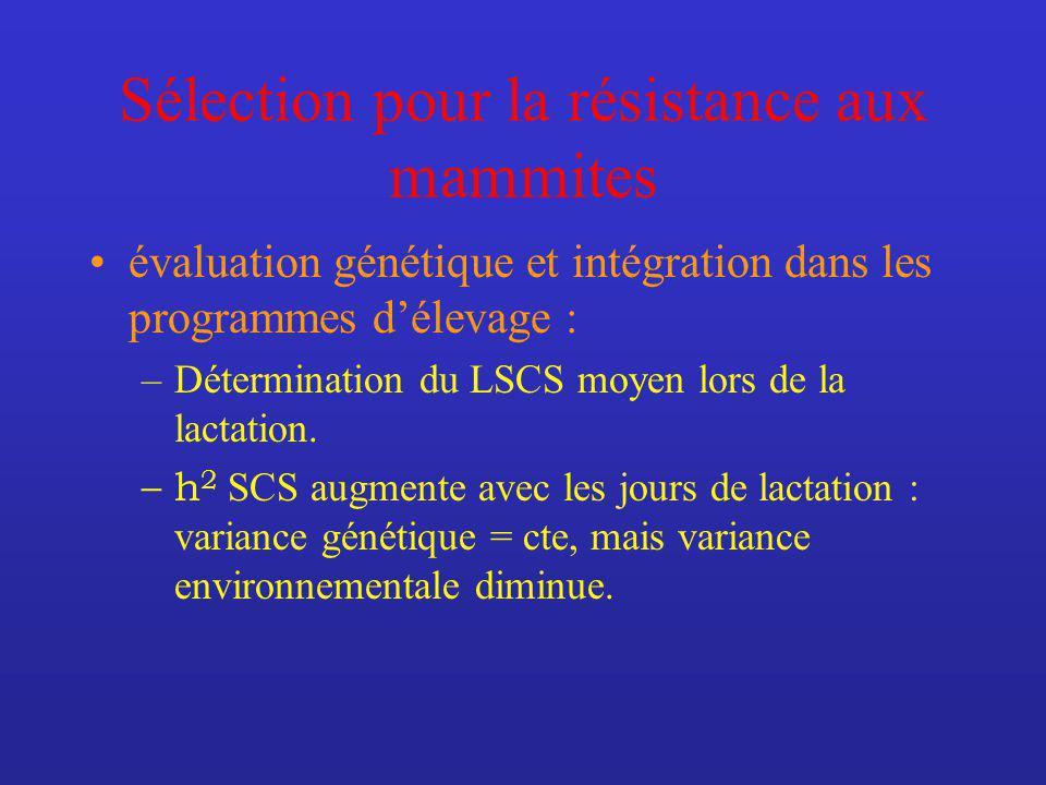 Sélection pour la résistance aux mammites évaluation génétique et intégration dans les programmes délevage : –Détermination du LSCS moyen lors de la lactation.