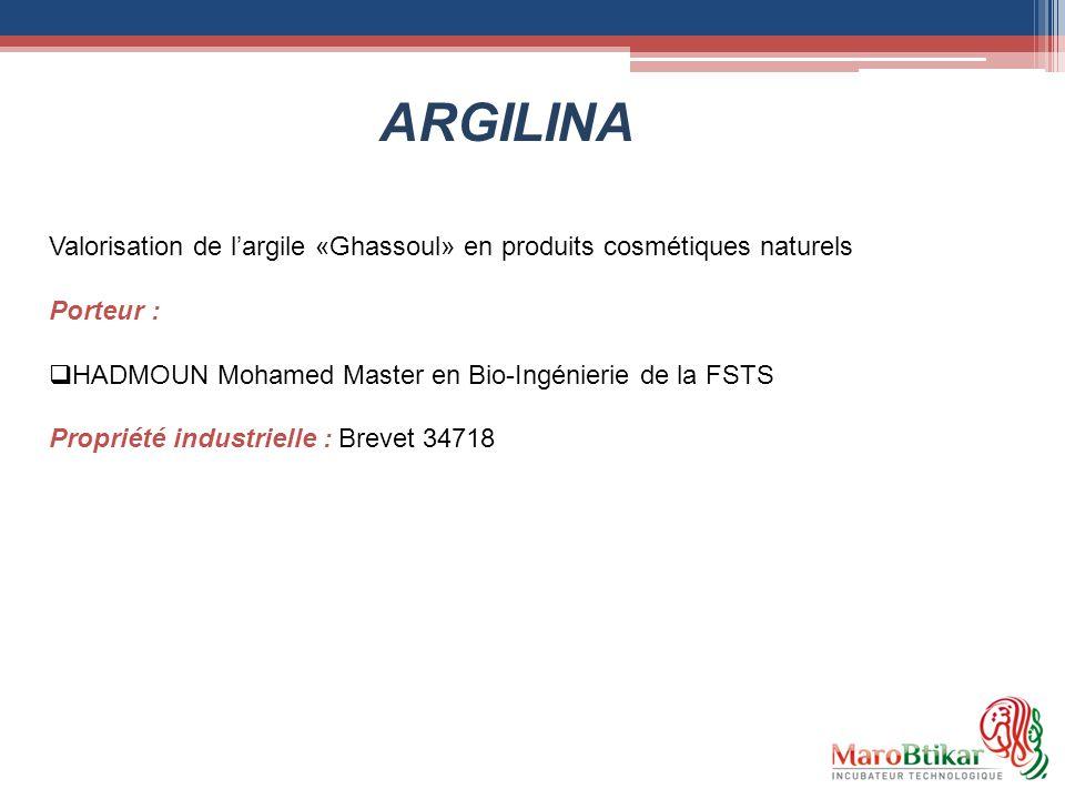 Valorisation de largile «Ghassoul» en produits cosmétiques naturels Porteur : HADMOUN Mohamed Master en Bio-Ingénierie de la FSTS Propriété industriel