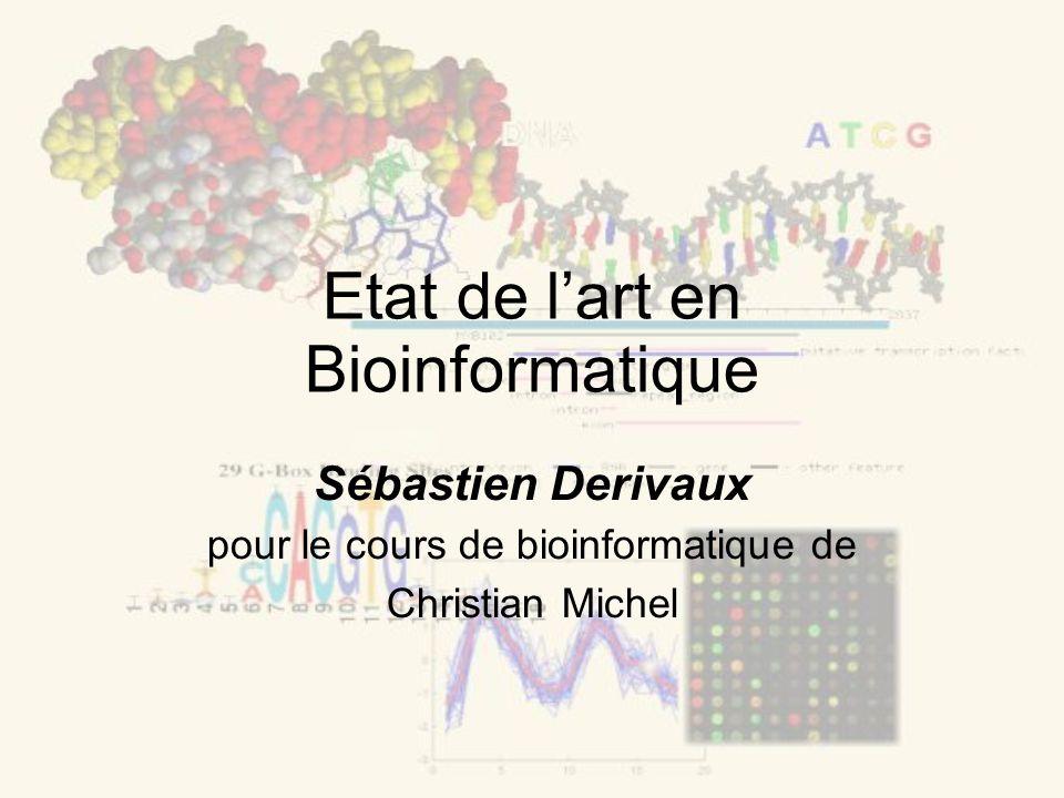 Etat de lart en Bioinformatique Sébastien Derivaux pour le cours de bioinformatique de Christian Michel