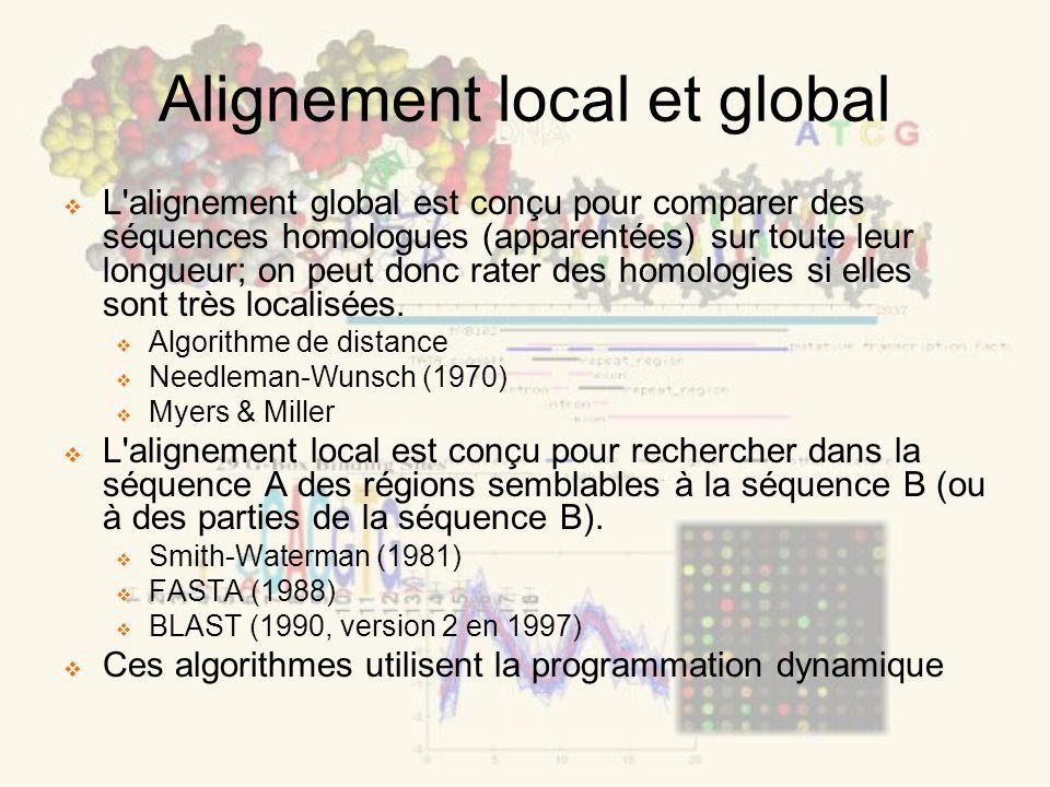 Alignement local et global L'alignement global est conçu pour comparer des séquences homologues (apparentées) sur toute leur longueur; on peut donc ra