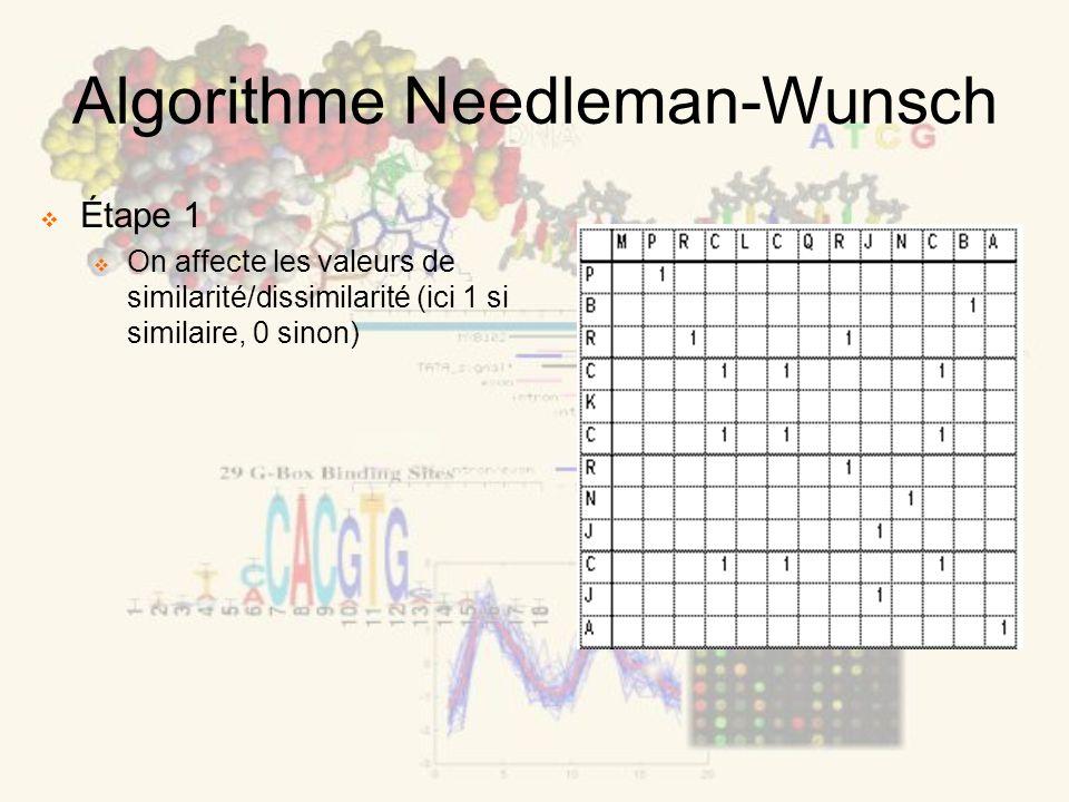 Algorithme Needleman-Wunsch Étape 1 On affecte les valeurs de similarité/dissimilarité (ici 1 si similaire, 0 sinon)