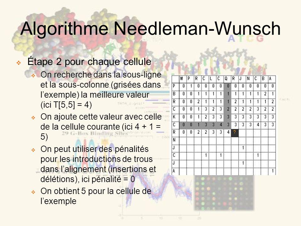 Algorithme Needleman-Wunsch Étape 2 pour chaque cellule On recherche dans la sous-ligne et la sous-colonne (grisées dans lexemple) la meilleure valeur (ici T[5,5] = 4) On ajoute cette valeur avec celle de la cellule courante (ici 4 + 1 = 5) On peut utiliser des pénalités pour les introductions de trous dans lalignement (insertions et délétions), ici pénalité = 0 On obtient 5 pour la cellule de lexemple