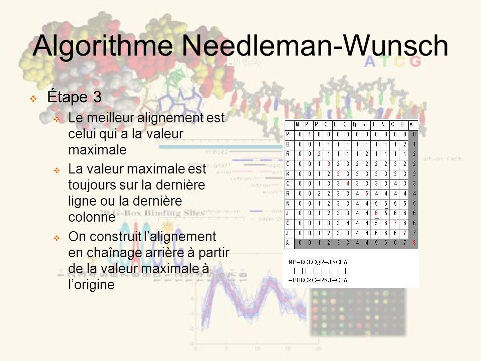 Algorithme Needleman-Wunsch Étape 3 Le meilleur alignement est celui qui a la valeur maximale La valeur maximale est toujours sur la dernière ligne ou la dernière colonne On construit lalignement en chaînage arrière à partir de la valeur maximale à lorigine
