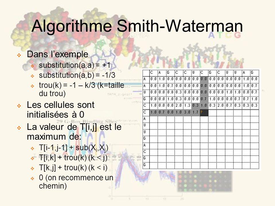 Algorithme Smith-Waterman Dans lexemple substitution(a,a) = +1 substitution(a,b) = -1/3 trou(k) = -1 – k/3 (k=taille du trou) Les cellules sont initialisées à 0 La valeur de T[i,j] est le maximum de: T[i-1,j-1] + sub(X i,X j ) T[i,k] + trou(k) (k < j) T[k,j] + trou(k) (k < i) 0 (on recommence un chemin)