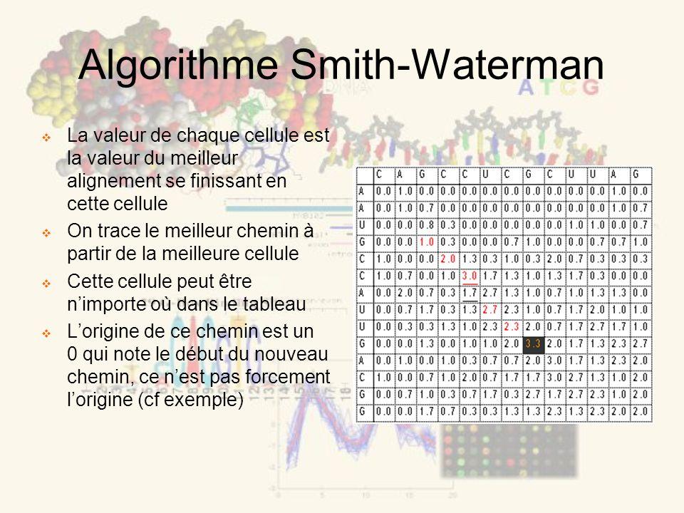 Algorithme Smith-Waterman La valeur de chaque cellule est la valeur du meilleur alignement se finissant en cette cellule On trace le meilleur chemin à partir de la meilleure cellule Cette cellule peut être nimporte où dans le tableau Lorigine de ce chemin est un 0 qui note le début du nouveau chemin, ce nest pas forcement lorigine (cf exemple)