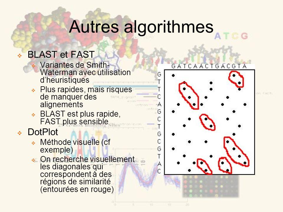 Autres algorithmes BLAST et FAST Variantes de Smith- Waterman avec utilisation dheuristiques Plus rapides, mais risques de manquer des alignements BLAST est plus rapide, FAST plus sensible DotPlot Méthode visuelle (cf exemple) On recherche visuellement les diagonales qui correspondent à des régions de similarité (entourées en rouge)
