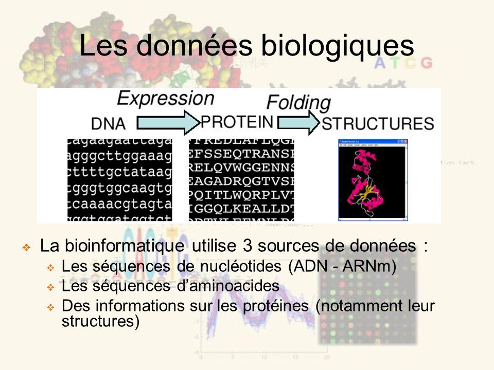 Les données biologiques La bioinformatique utilise 3 sources de données : Les séquences de nucléotides (ADN - ARNm) Les séquences daminoacides Des informations sur les protéines (notamment leur structures)