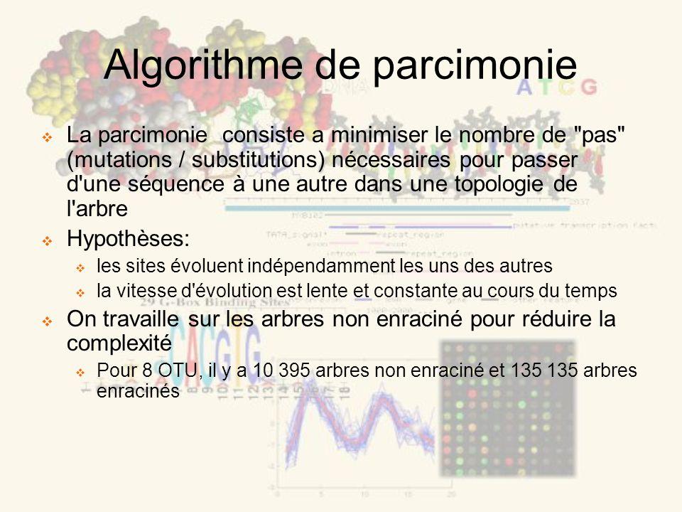 Algorithme de parcimonie La parcimonie consiste a minimiser le nombre de