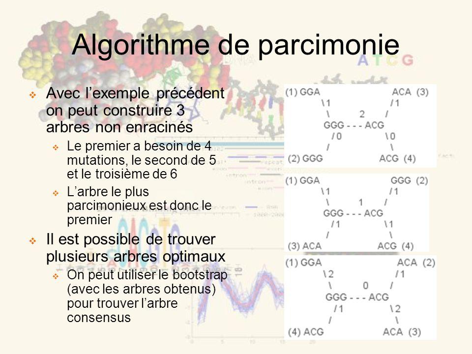 Algorithme de parcimonie Avec lexemple précédent on peut construire 3 arbres non enracinés Le premier a besoin de 4 mutations, le second de 5 et le troisième de 6 Larbre le plus parcimonieux est donc le premier Il est possible de trouver plusieurs arbres optimaux On peut utiliser le bootstrap (avec les arbres obtenus) pour trouver larbre consensus