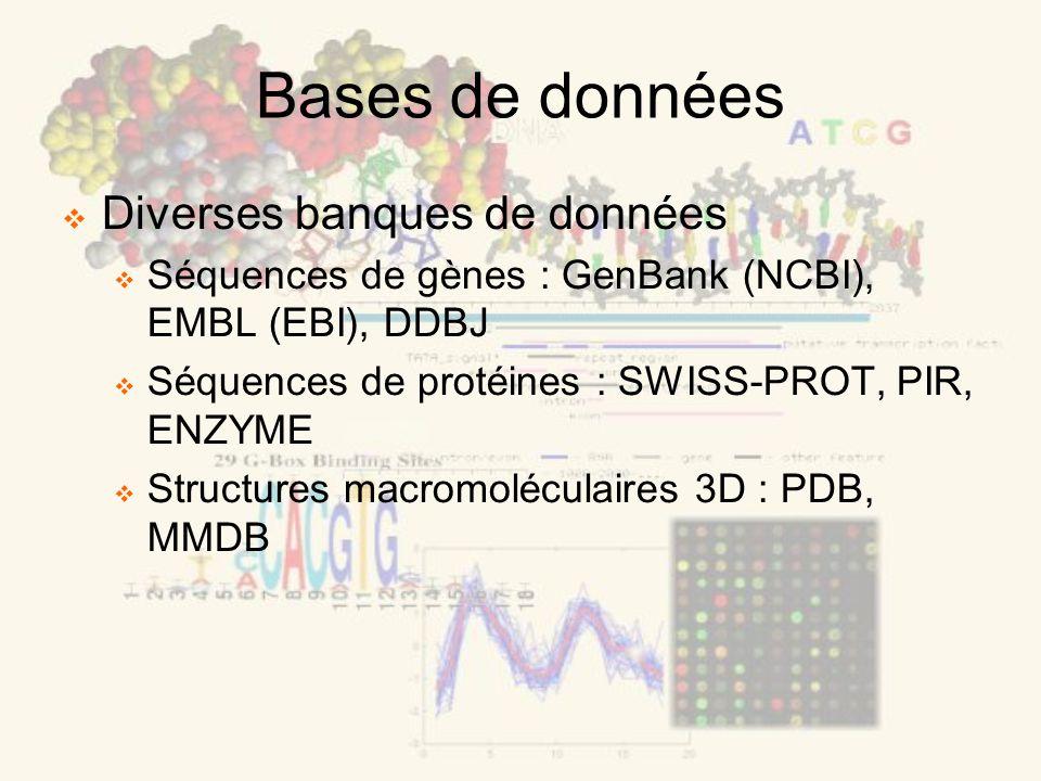 Diverses banques de données Séquences de gènes : GenBank (NCBI), EMBL (EBI ), DDBJ Séquences de protéines : SWISS-PROT, PIR, ENZYME Structures macromo