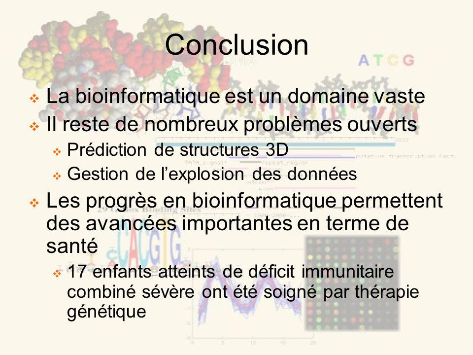 Conclusion La bioinformatique est un domaine vaste Il reste de nombreux problèmes ouverts Prédiction de structures 3D Gestion de lexplosion des donnée