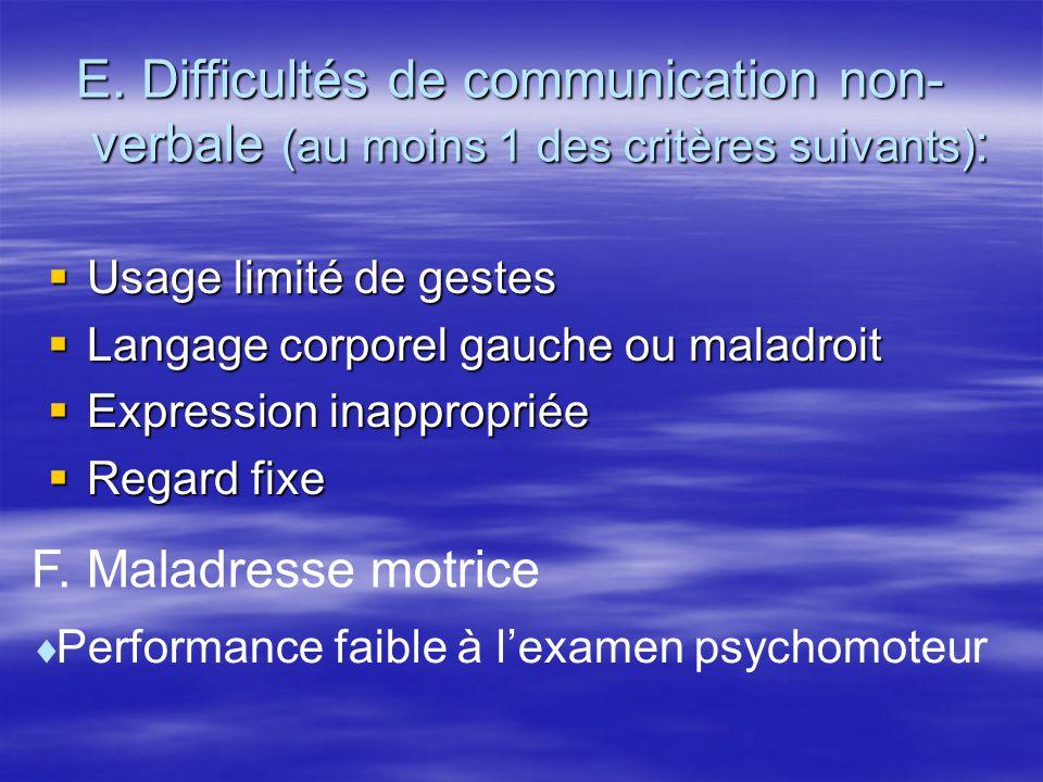 E. Difficultés de communication non- verbale (au moins 1 des critères suivants) : Usage limité de gestes Usage limité de gestes Langage corporel gauch