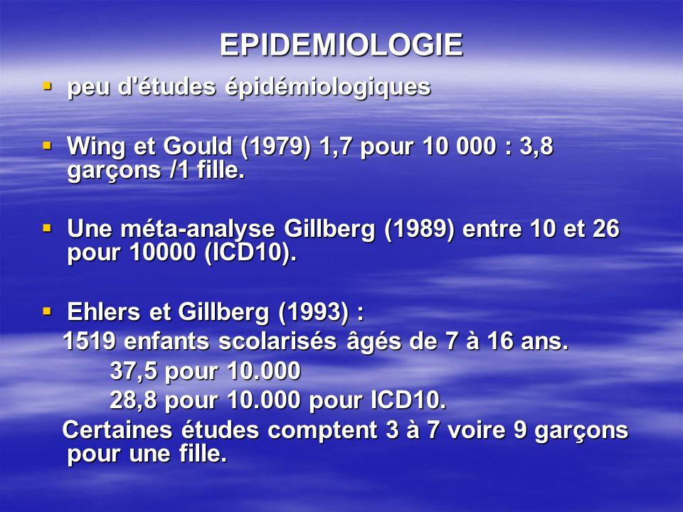 EPIDEMIOLOGIE peu d'études épidémiologiques peu d'études épidémiologiques Wing et Gould (1979) 1,7 pour 10 000 : 3,8 garçons /1 fille. Wing et Gould (