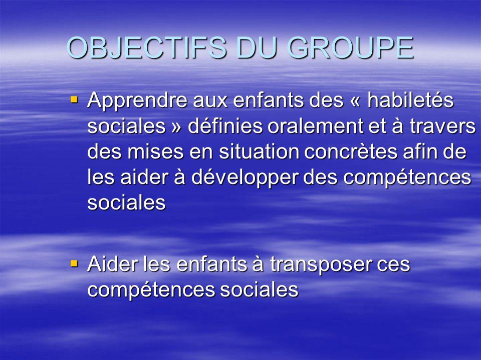 OBJECTIFS DU GROUPE Apprendre aux enfants des « habiletés sociales » définies oralement et à travers des mises en situation concrètes afin de les aide