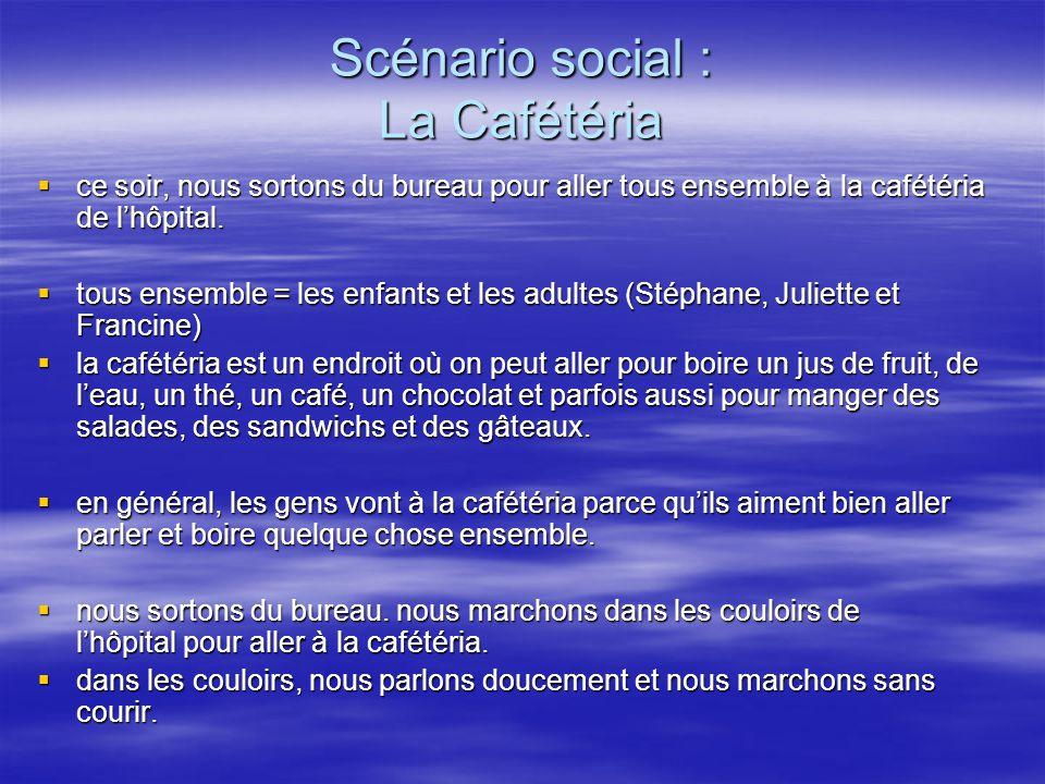 Scénario social : La Cafétéria ce soir, nous sortons du bureau pour aller tous ensemble à la cafétéria de lhôpital.