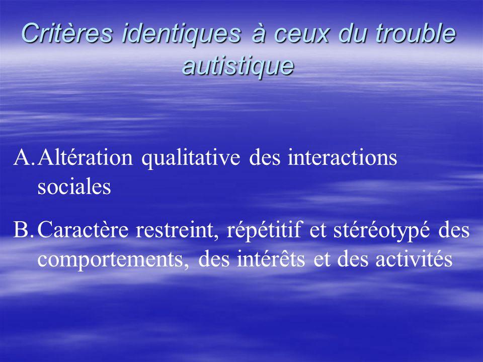 Critères identiques à ceux du trouble autistique A.Altération qualitative des interactions sociales B.Caractère restreint, répétitif et stéréotypé des comportements, des intérêts et des activités