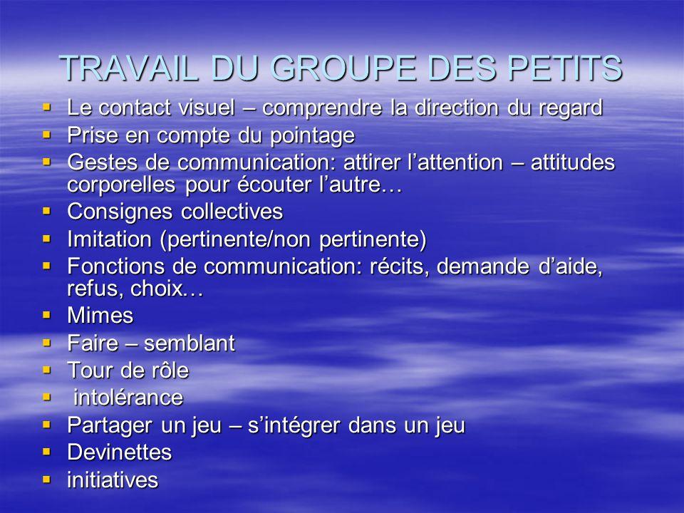 TRAVAIL DU GROUPE DES PETITS Le contact visuel – comprendre la direction du regard Le contact visuel – comprendre la direction du regard Prise en comp
