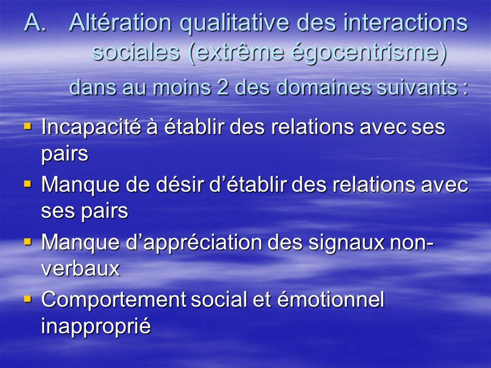 A.Altération qualitative des interactions sociales (extrême égocentrisme) dans au moins 2 des domaines suivants : Incapacité à établir des relations a