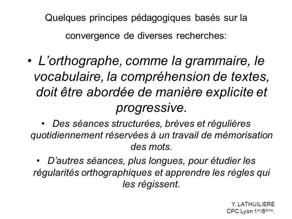 Quelques principes pédagogiques basés sur la convergence de diverses recherches: Lorthographe, comme la grammaire, le vocabulaire, la compréhension de