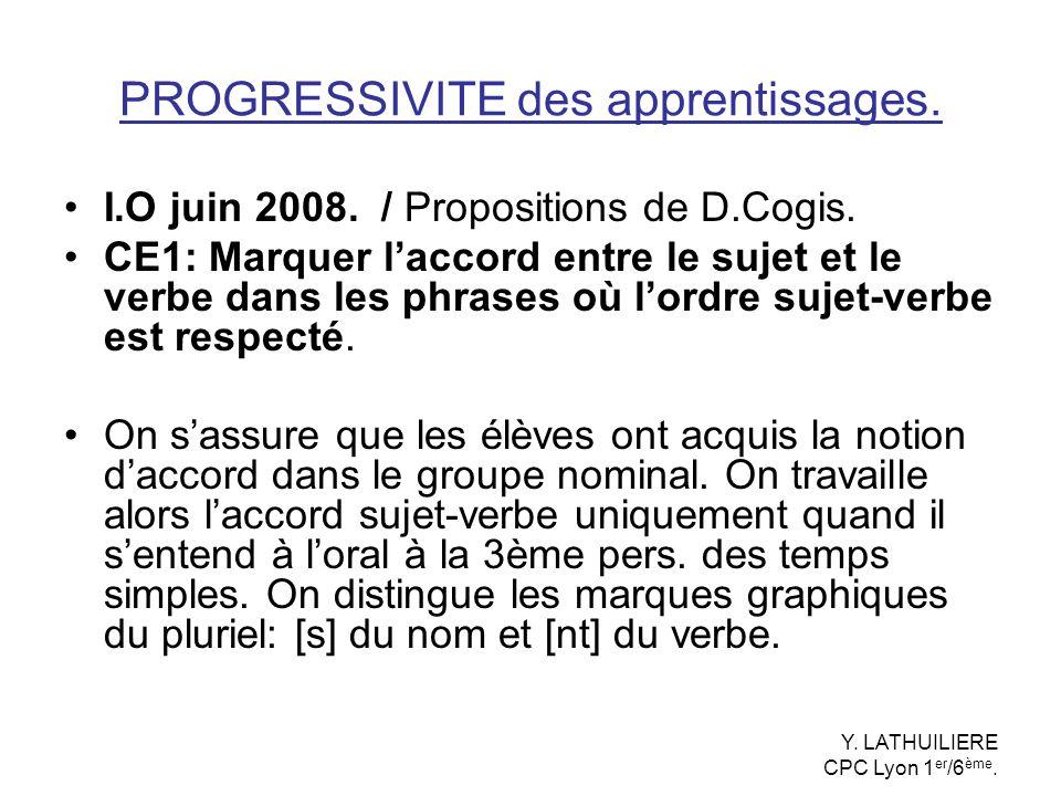 PROGRESSIVITE des apprentissages. I.O juin 2008. / Propositions de D.Cogis. CE1: Marquer laccord entre le sujet et le verbe dans les phrases où lordre