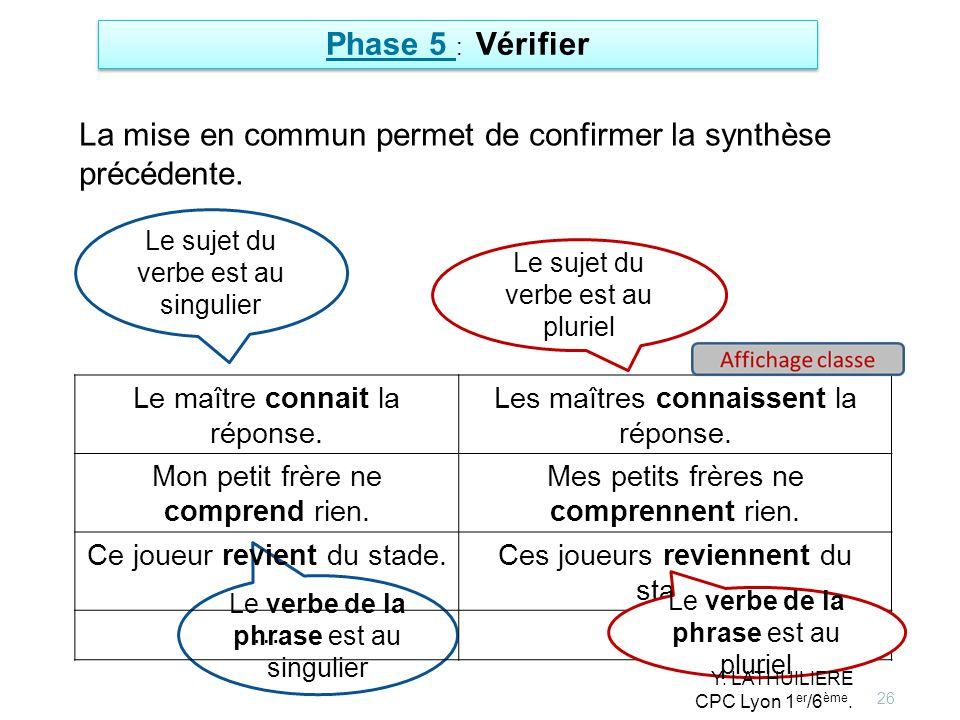 26 Phase 5 : Vérifier Le sujet du verbe est au singulier Le verbe de la phrase est au singulier Le maître connait la réponse. Les maîtres connaissent
