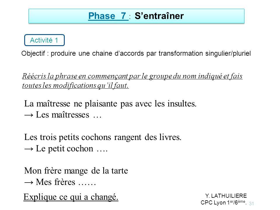 31 Phase 7 : Sentraîner Activité 1 Objectif : produire une chaine daccords par transformation singulier/pluriel La maîtresse ne plaisante pas avec les