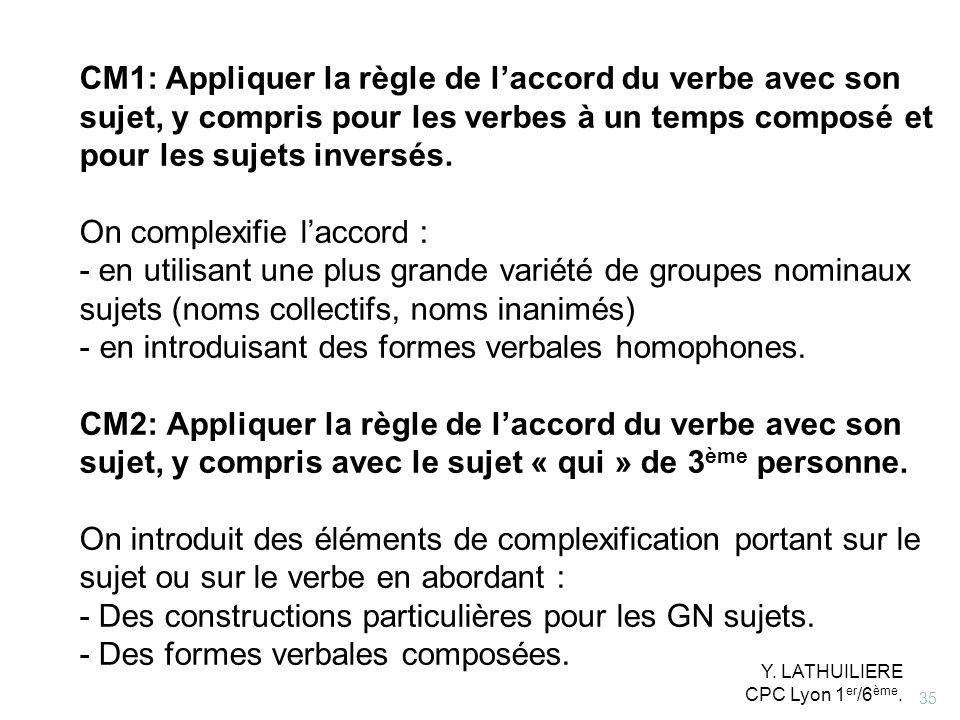 CM1: Appliquer la règle de laccord du verbe avec son sujet, y compris pour les verbes à un temps composé et pour les sujets inversés. On complexifie l