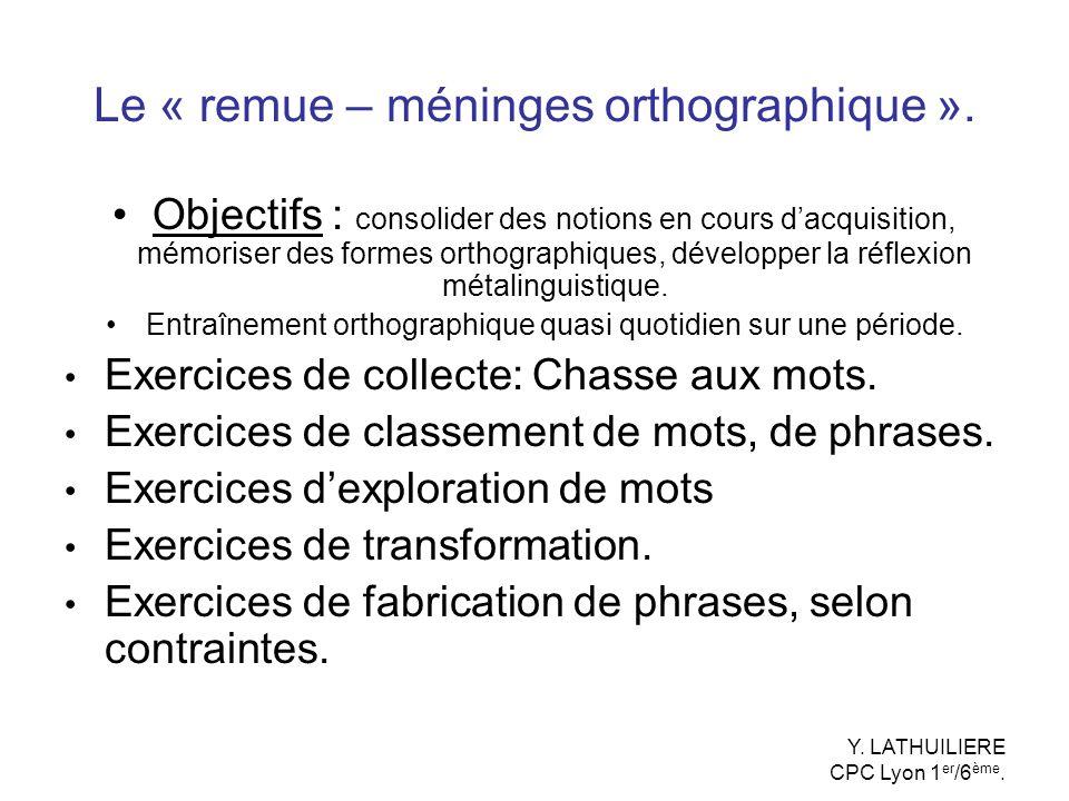 Le « remue – méninges orthographique ». Objectifs : consolider des notions en cours dacquisition, mémoriser des formes orthographiques, développer la