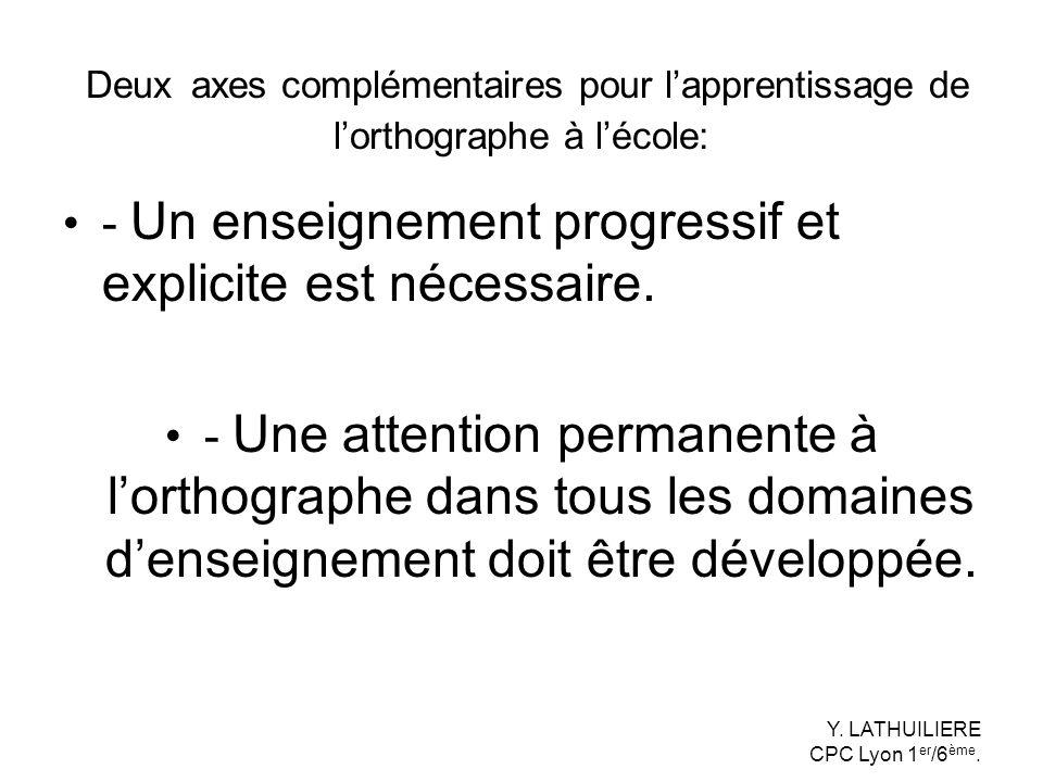 Deux axes complémentaires pour lapprentissage de lorthographe à lécole: - Un enseignement progressif et explicite est nécessaire. - Une attention perm