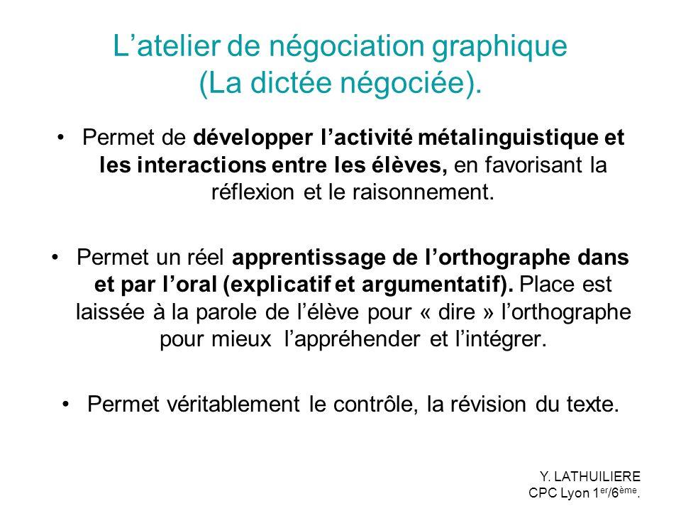 Latelier de négociation graphique (La dictée négociée). Permet de développer lactivité métalinguistique et les interactions entre les élèves, en favor