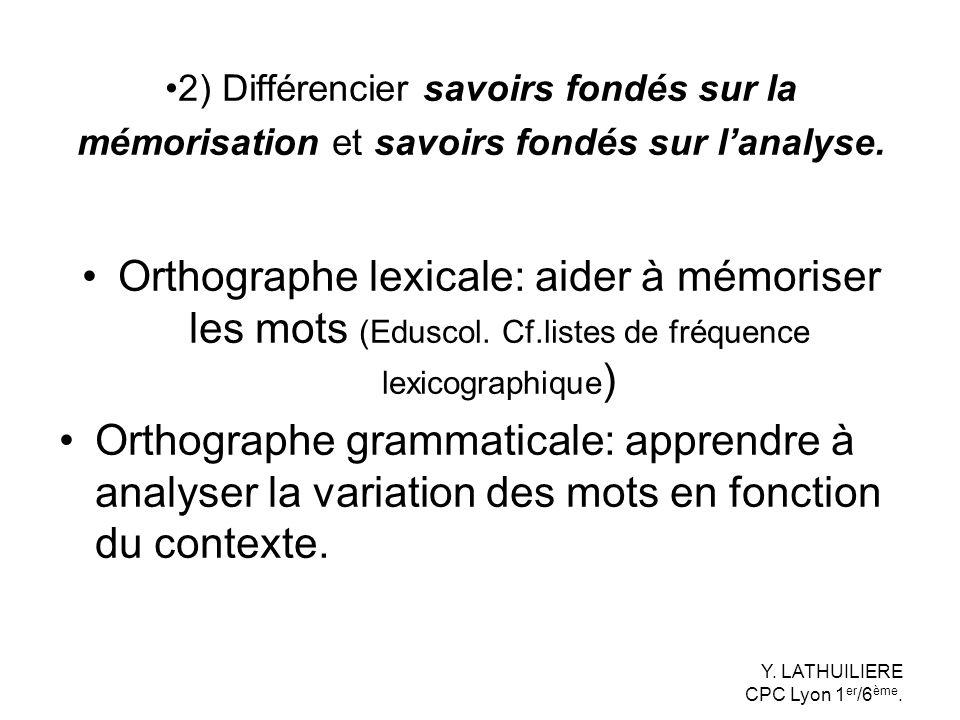 Orthographe lexicale: aider à mémoriser les mots (Eduscol. Cf.listes de fréquence lexicographique ) Orthographe grammaticale: apprendre à analyser la