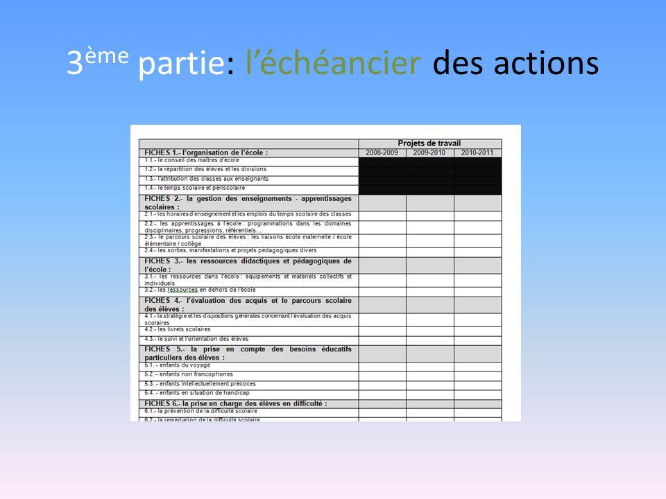 3 ème partie: léchéancier des actions