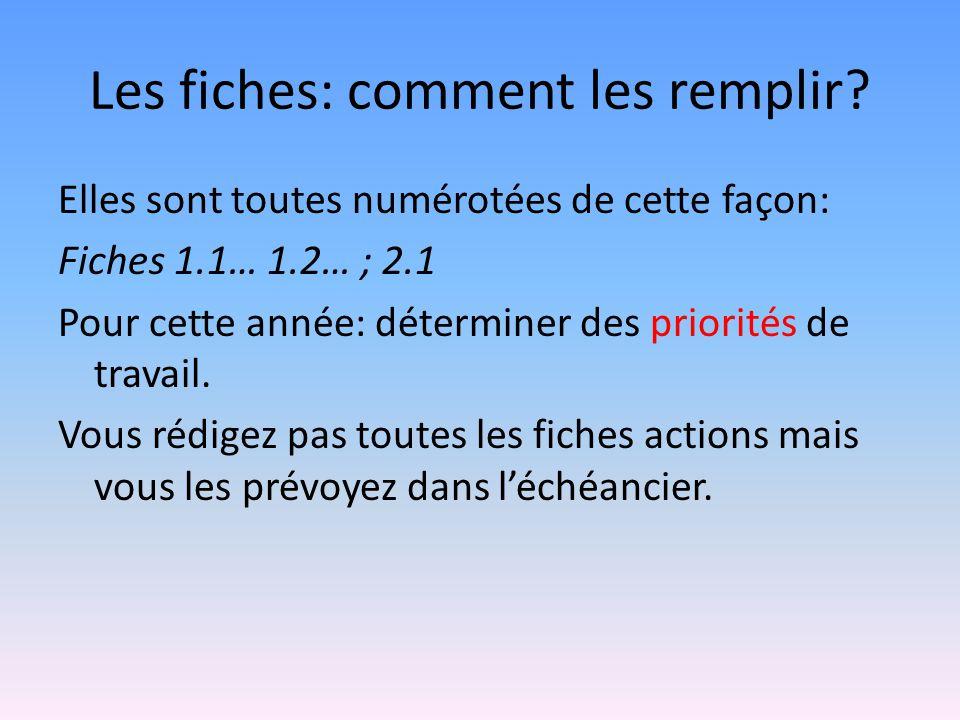 Les fiches: comment les remplir? Elles sont toutes numérotées de cette façon: Fiches 1.1… 1.2… ; 2.1 Pour cette année: déterminer des priorités de tra
