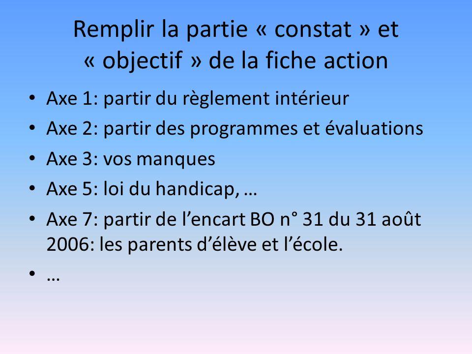Remplir la partie « constat » et « objectif » de la fiche action Axe 1: partir du règlement intérieur Axe 2: partir des programmes et évaluations Axe