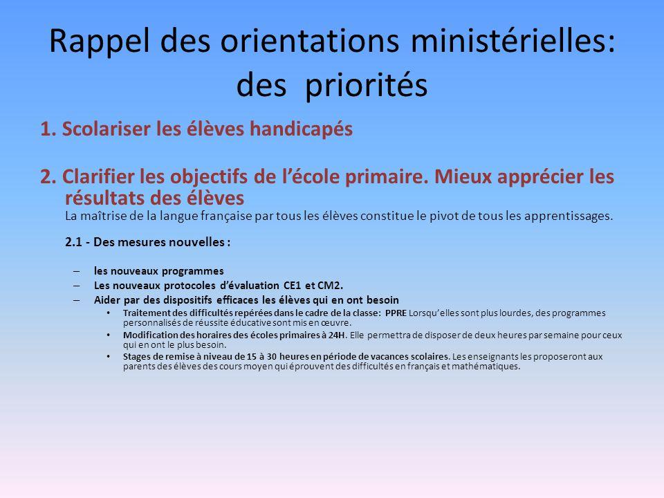 Rappel des orientations ministérielles: des priorités 1. Scolariser les élèves handicapés 2. Clarifier les objectifs de lécole primaire. Mieux appréci
