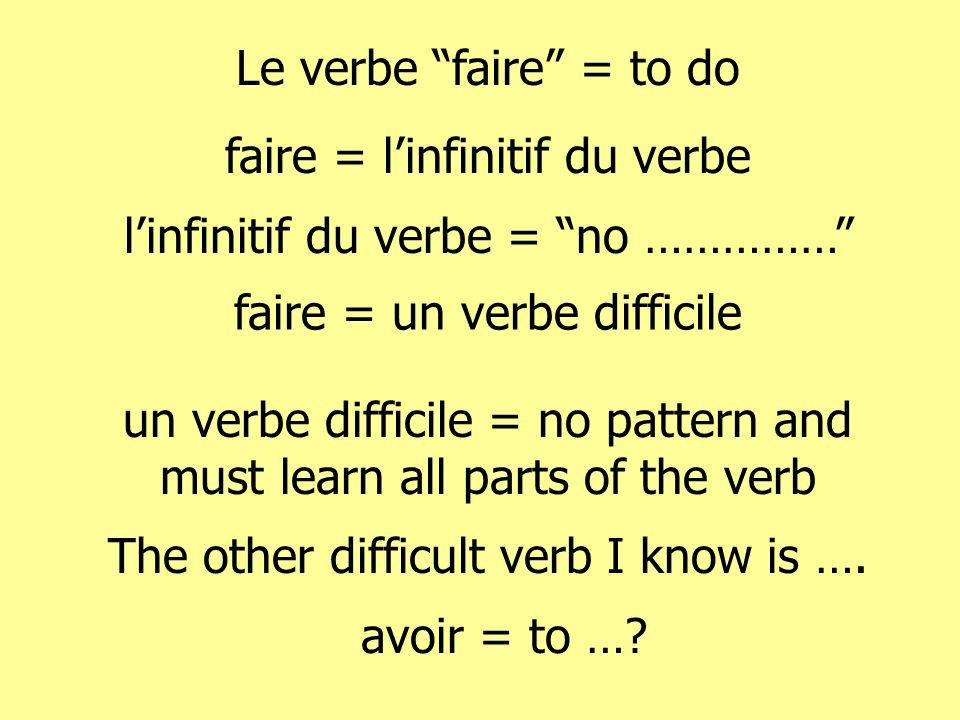 Le verbe faire = to do faire = linfinitif du verbe linfinitif du verbe = no …………… faire = un verbe difficile un verbe difficile = no pattern and must