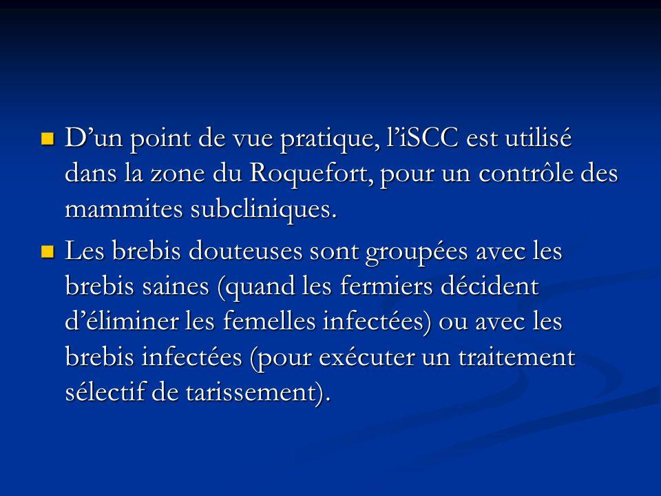 Dun point de vue pratique, liSCC est utilisé dans la zone du Roquefort, pour un contrôle des mammites subcliniques. Dun point de vue pratique, liSCC e