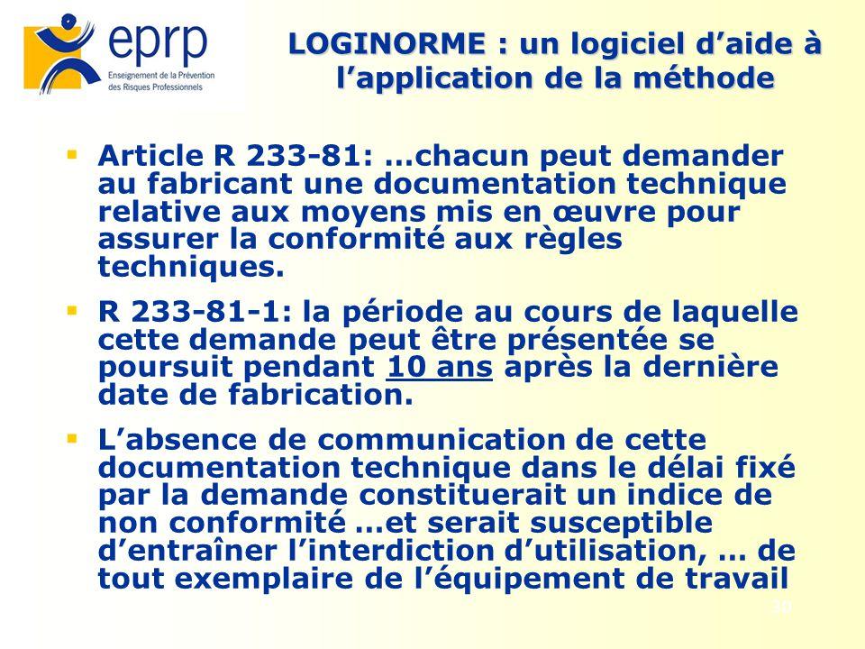 30 LOGINORME : un logiciel daide à lapplication de la méthode Article R 233-81: …chacun peut demander au fabricant une documentation technique relativ