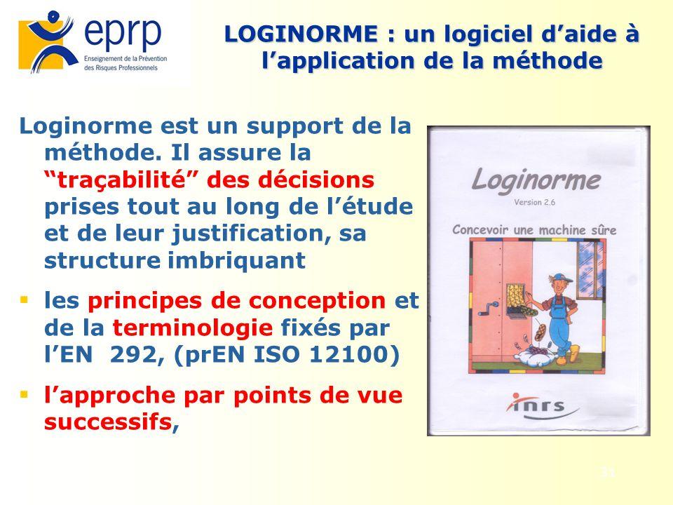 31 Loginorme est un support de la méthode. Il assure la traçabilité des décisions prises tout au long de létude et de leur justification, sa structure