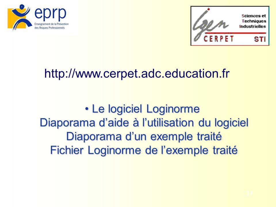 37 http://www.cerpet.adc.education.fr Le logiciel Loginorme Diaporama daide à lutilisation du logiciel Diaporama dun exemple traité Fichier Loginorme