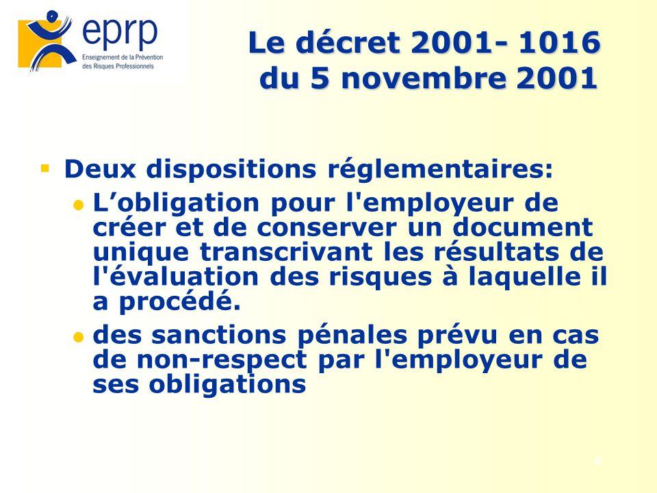 4 Le décret 2001- 1016 du 5 novembre 2001 Deux dispositions réglementaires: Lobligation pour l'employeur de créer et de conserver un document unique t
