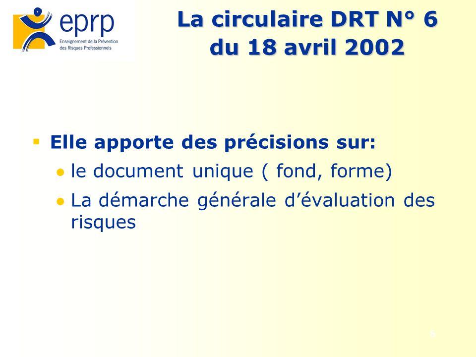 6 La circulaire DRT N° 6 du 18 avril 2002 Elle apporte des précisions sur: le document unique ( fond, forme) La démarche générale dévaluation des risq