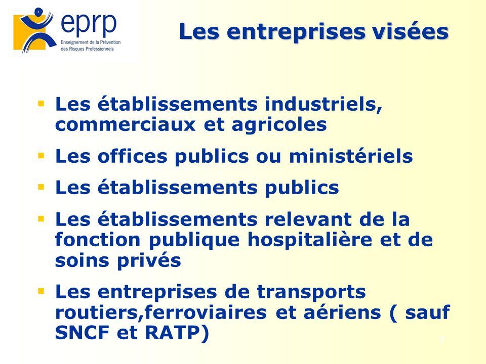 7 Les entreprises visées Les établissements industriels, commerciaux et agricoles Les offices publics ou ministériels Les établissements publics Les é